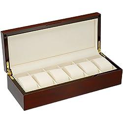 Diplomat Mahogany Wood 6 Watch Storage Case with Cream Interior