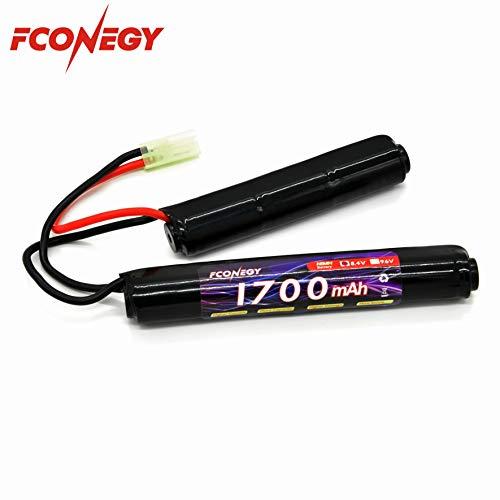 FCONEGY Batería NiMH 8.4V 1700mAh Paquete Nunchuck de 7 celdas con conector Tamiya pequeño para pistola Airsoft