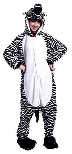 BIFINI Unisex Adult Halloween Cosplay Pajamas Onesie Zebra Hoodie Costume L (Ladies Halloween Costumes Next Day Delivery)