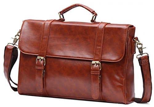 Vintage PU Leather Briefcase Flap-Over Laptop Messenger Bag With Handle Brown Fit 15'' Laptop (Attache Case For Women)