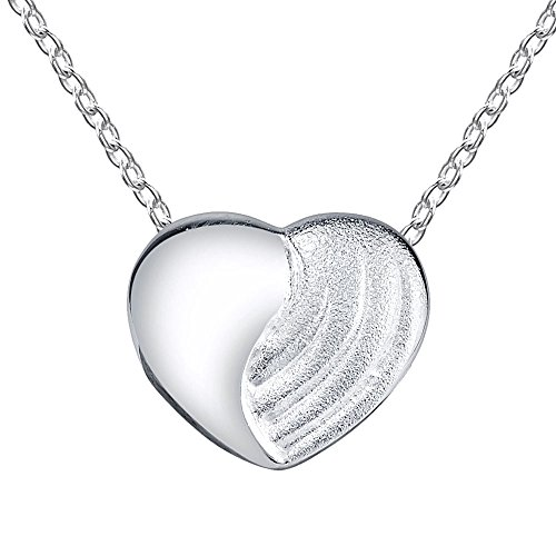 Satin Silver Heart - Sterling Silver Multi Finish Heart Pendant Necklace, with Brushed Satin and Polished Shiny Finish