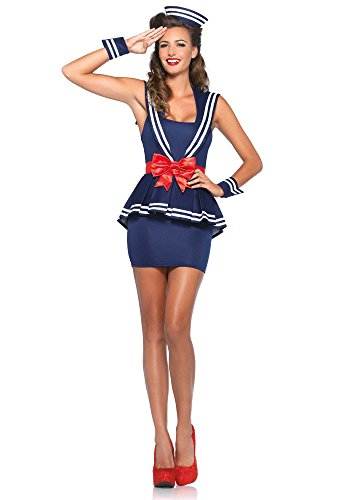 Sexy Sailors Costumes (Leg Avenue Women's 4 Piece Aye Aye Amy Sailor Costume, Blue, Large)