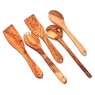 Handcrafted Olive Wood Set of 5 Spatulas / Spoons (length 12  each) - Asfour Outlet Trademark