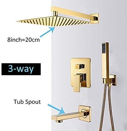 QKEMM Ensemble de robinets de Douche /à Montage Mural dor/é avec pr/écipitations ultraminces Douche dor/ée Syst/ème de Douche avec mitigeur thermostatique