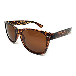 WebDeals - Color Mirror Reflective Lens and Dark Horn Rimmed Large Square Sunglasses (Tortoise / Brown)