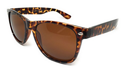 WebDeals - Color Mirror Reflective Lens and Dark Horn Rimmed Large Square Sunglasses (Tortoise / - Color Tortoise Is What