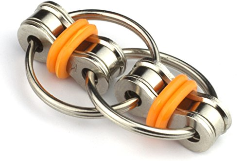 Tom's Fidgets Flippy Chain Fidget Toy Perfect for ADHD, Anxiety, and Autism - Bike Chain Fidget Stress Reducer for Adults and Kids - Orange -