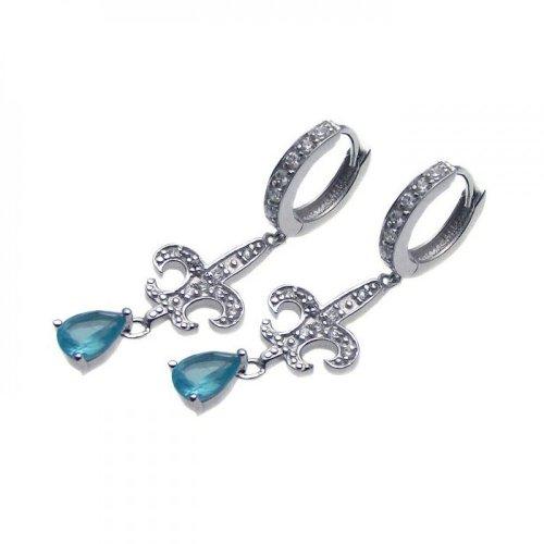 Pear Blue Cubic Zirconia Fleur De Lis Design Huggie Earrings Rhodium Plated Sterling Silver
