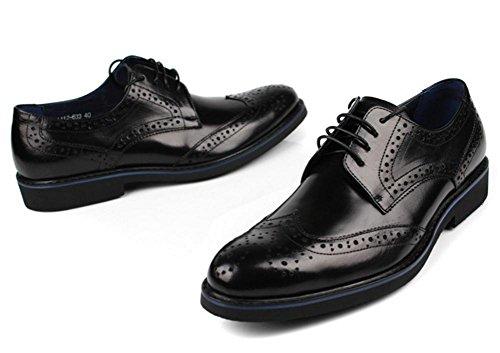 Hombres Toro castrado Negocio Con cordones Cuero Vestir Zapatos Formal marrón Negro Boda Punta puntiaguda Oxfords Plano tamaño 37-44 Black