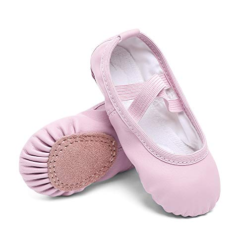 Cute stars Girls Leather Dance Ballet Shoes Slippers for Girls/Kids/Toddlers(6MT, Light Ballet Pink)