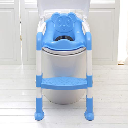 Baby Potty Toilet Training Seat by HP95, Folding Toddlers Bathroom Training Chair Cover for Toilet - Boys & Girls Toilet Training Seat Ladder with Wide Step (A, Blue) by HP95_Baby Supplies (Image #2)
