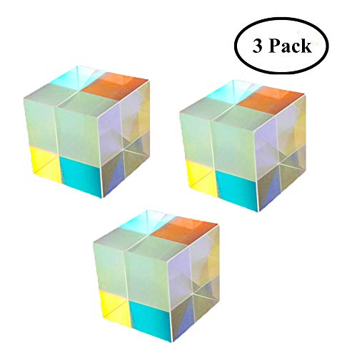 Yunhigh Optical Glass Cube Prism Art Crystal Rainbow Maker Reflective Light Spectrum Physics Photo Photography Prism, 3 Pack ()