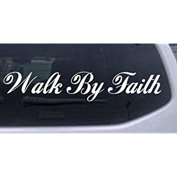 Amazoncom Walk By Faith Christian God Jesus Bible Verse Vinyl - Bible verse custom vinyl decals for car