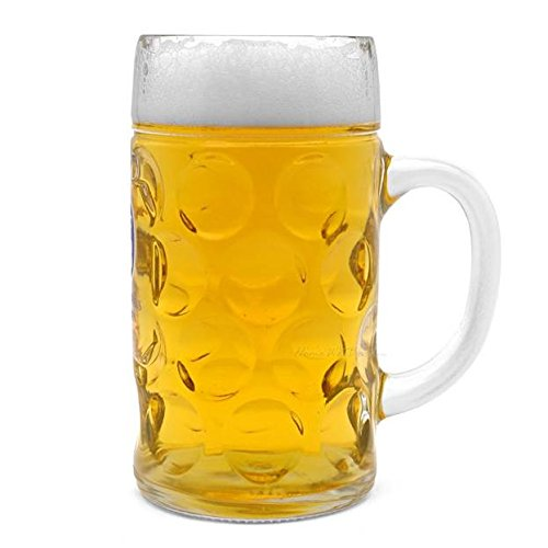 This 1 liter beer glass makes it easy to get your drink on. In fact, the term extra large beer mug is an understatement. This thing is huge! Made of durable glass in the German stein style, this serious drinking mug is perfect for Oktoberfest...