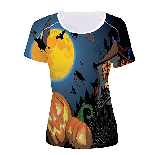 T-Shirt,Halloween Haunted House Party Theme Decor Trick,Women 3D Print]()