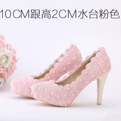 Pearl Lace Shoes Shoes Bridal Pink Pink Toe Waterproof VIVIOO Prom Wedding Heeled Sandals Color 6 Shoes Red Flowers White Heel 10Cm Round Women'S High ttYv7x