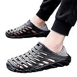 2019 New Men's Plus Size Waterproof Beach Sandals Elastic Heel Leisure Hollowed Outdoor Casual Beach Shoes7.5-10M (Black, 9 M US)