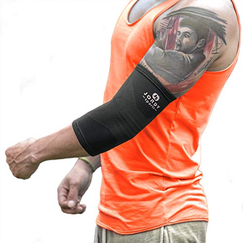 Cubital Pain Tunnel - Jordy Sports Elbow Compression Brace - Arm Support Sleeve for Tennis and Golfer's Elbow, Arthritis, Tendonitis, Weightlifting, Workout - Pain Relief, Recovery and Protection, Men, Women, Any Activity