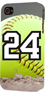 Softball Sports Fan Player Number 24 Plastic Snap On Decorative iphone 5s Case