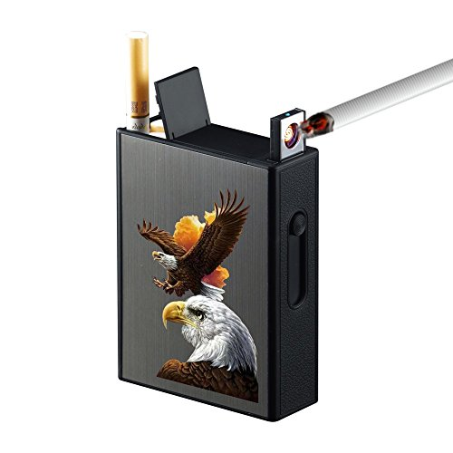 Lighters Full Pack 20pcs Regular Cigarettes Box Rechargeable Windproof Flameless Electric Protable Lighter (Eagle) ()