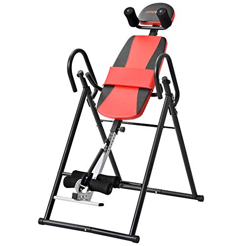 HELLOLAND Foldable Heavy Duty Inversion Table Back Upside Down Therapy Pain Flip Table with Headrest (Red)