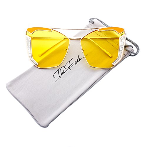 The Fresh Oversized Cat Eye Color Flat Lens Street Fashion Metal Frame Women Sunglasses (1-Gold/Yellow, Yellow)
