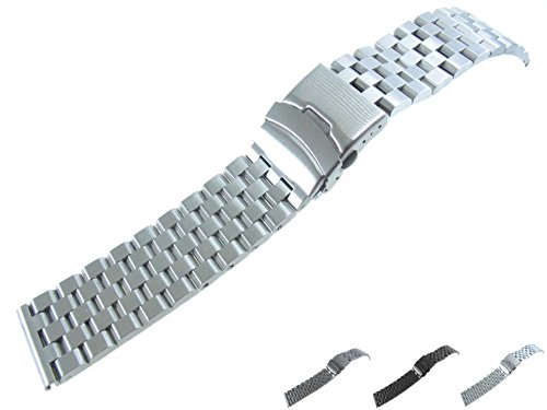 22mm Watch Bracelet Watchband Strap Stainless Steel Multi Colored Brushed 5 Row Super Engineer II Individual Brick Removed Link Free Spring Bar Secure Clasp Buckle JRRS7777 (Silver) Brick Mesh