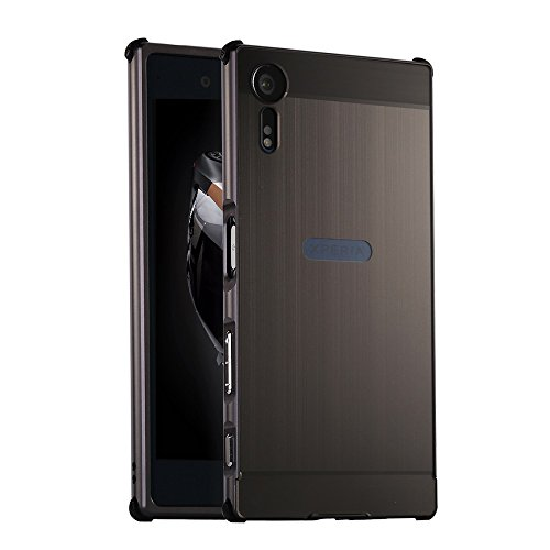 SONY XZS Case with Tempered Glass Screen Protector , Hi5Gadget ZLDECO Stylish Edge Shockproof Metal Frame +Acrylic PC Back Bumper Cover Protective for Sony Xperia XZs G8232 Smartphone
