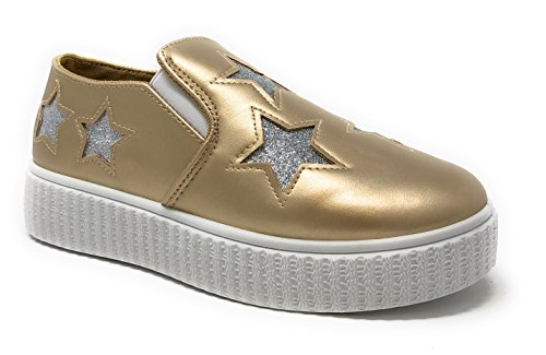 Pink Label Women's Slip-On Stylish Fashion Sneaker with Glitter Stars in Gold Size: 7