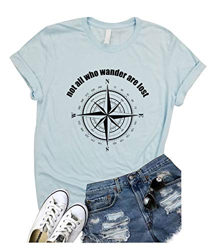 (Not All Who Wander are Lost Women Travel T Shirt Compass Graphic Baseball Tee Short Sleeve Cotton Casual Tops (M, Blue))