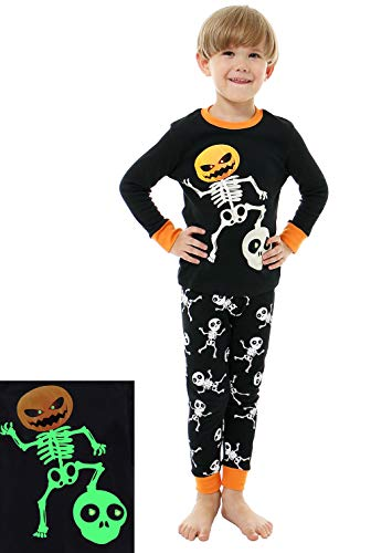 - AMGLISE Little Boys Girls Halloween Pajamas Skeleton Glow Pjs Kids Sleepwear Set 5