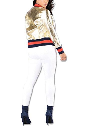 Donne Giacche Cappotti Corti Anteriori Collo Donna Pelle Giuntura Baggy Elegante Coreana Autunno Longsleeve Cappotto Tasche Casual Striscia Glitter Oro Casuale Giubbino Invernali Battercake Giubbotto FSxwqBx7