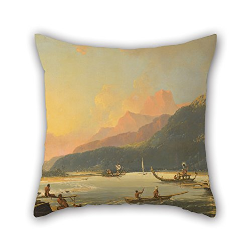 Justin Junior Bay (Pillow Covers 20 X 20 Inch / 50 By 50 Cm(each Side) Nice Choice For Couch,shop,couples,home Theater,her,dance Room Oil Painting William Hodges - Tahitian War Galleys In Matavai Bay, Tahiti)