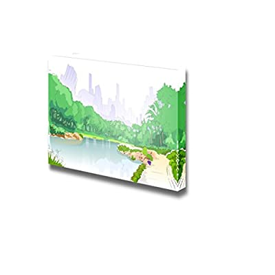 Canvas Prints Wall Art - Green Park in City Center with Pond,Trees and Road Path | Modern Wall Decor/Home Decoration Stretched Gallery Canvas Wrap Giclee Print & Ready to Hang - 16