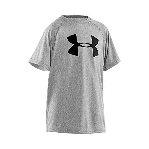 Under Armour Boys' Tech Big Logo Short Sleeve T-Shirt, True Gray Heather/Black, Youth X-Large