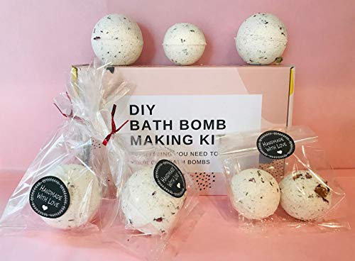 bMAKER DIY Bath Bomb Making Kit Lavender Rose Essential Oil Colorants Easy to Do Fun Science Project Gift Idea for kids and adults