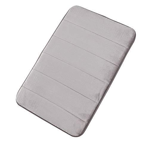 Memory Foam Bathroom Rugs Mat Soft Absorbant Bath Runner Rug Rubber Back Anti-Slip Kitchen Bathroom Mat 16″x24″, Silver Grey