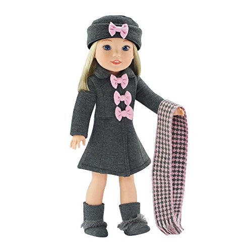 14 Inch Doll Clothes/Clothing | Lovely Grey and Pink Coat Outfit, Includes Incredible Matching Hat and Boots and Perfect Hounds Tooth Scarf | Fits American Girl Wellie Wishers Dolls