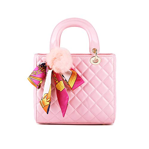 Mishuo Tote Bag Shoulder Crossbody Handbags Quilted Leather Women Elegant Scarf (Pink)