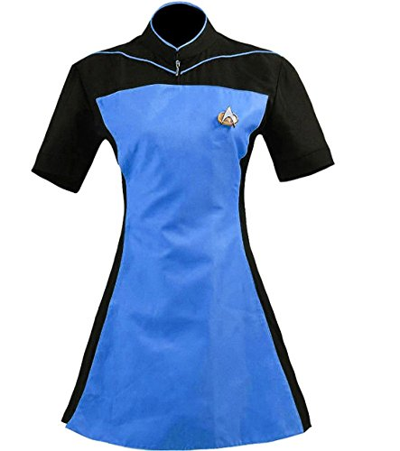 TISEA Women's Costume Cosplay Uniform Dress (L, Blue) -