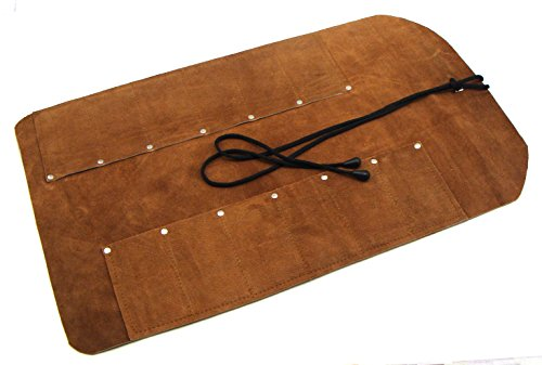 - 12 Pocket Suede Leather Tool Roll for Woodcarving Knives and Other Smaller Tools