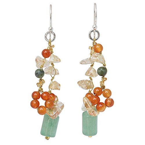 NOVICA Multi-Gem Carnelian .925 Sterling Silver Cluster Earrings, Forest Love