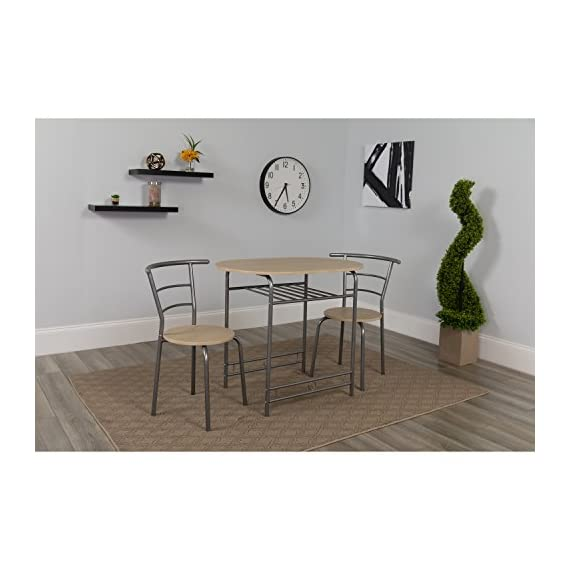 Flash Furniture Soho 3 Piece Space-Saver Natural Finish Bistro Table with Shelf and Chairs - Table and Chair Set Set Includes Table and 2 Chairs Contemporary Style - kitchen-dining-room-furniture, kitchen-dining-room, dining-sets - 41NKhNF%2B2fL. SS570  -