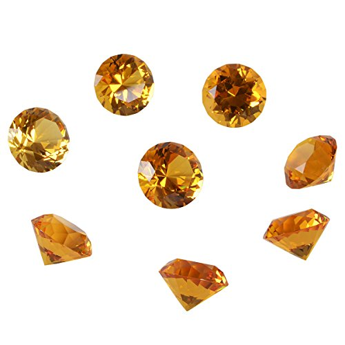 LONGWIN 30mm(1.2 inch) Crystal Diamond Paperweight Birthstone Home Decor Pack of 8 (Amber)