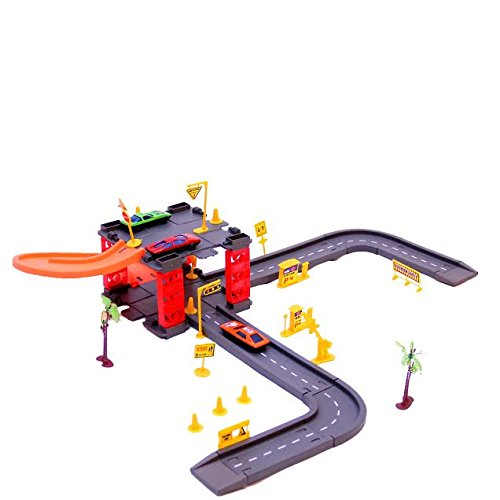 Parking Tower Track Set with 3 Cars | Christmas Gift | Parking Tower and Garage Set | Dazzling Toys (Upward Park Holiday)