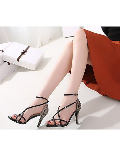 Black Dress Heel Sandals Women's Leatherette White Stiletto Wedding Heels amp; ShangYi Black Party Evening Shoes xFwCBqF7