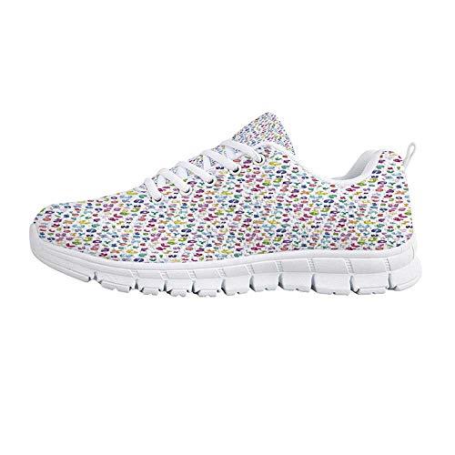 (TecBillion Kids Decor Comfortable Sports Shoes,Cute Colorful Alphabet ABC Bubble Letters Doodle Style Fun Childish Nursery Design for Men & Boys,US Size 10)
