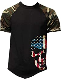 Mens American Skull Cottom Military Tee Baseball T-Shirt