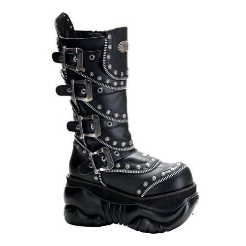 Heren 4 Inch Platforms Knie Hoge Kuit Laarzen Zwart Gothic Laarzen Studs Heren Sizing