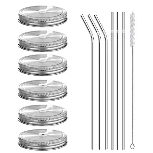 6pcs Pack 304 Stainless Steel Wide Mouth Mason Jar Lids with Straw Hole, Including 6pcs Stainless Steel Straws and 1pcs Cleaning Brush, Compatible with Ball & Kerr Mason Jars